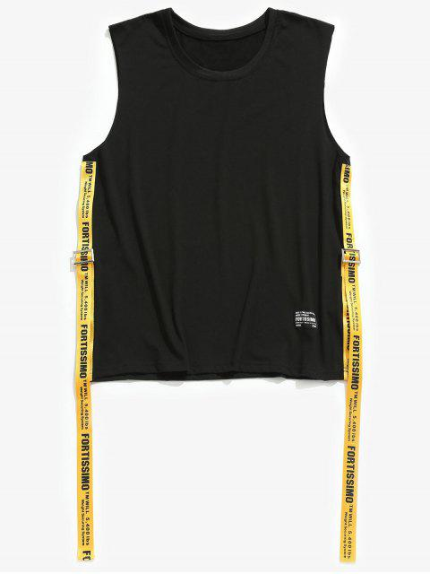 Cuello Redondo Carta Cintas Tank Top - Negro 2XL Mobile