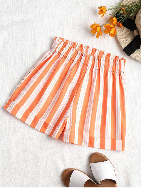 Hohe Taillierte Streifen Shorts - Dunkles Orange M Mobile