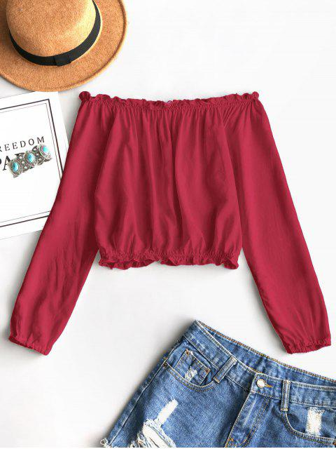 shop Ruffles Off Shoulder Cropped Blouse - LAVA RED ONE SIZE(FIT SIZE XS TO M) Mobile