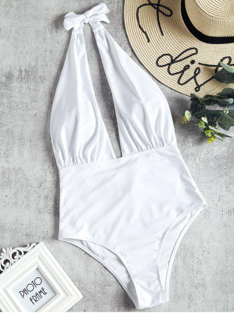 shops Low Cut High Waisted One Piece Swimsuit - WHITE L Mobile