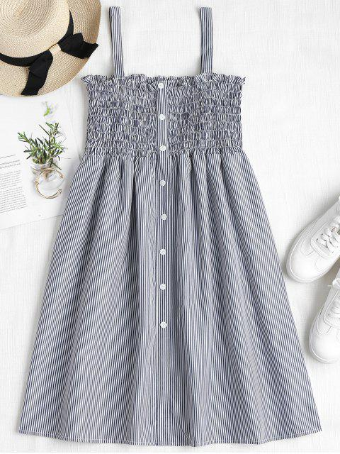Gestreiftes Smocked A Linie Pinafore Kleid - Dunkles Schieferblau M Mobile