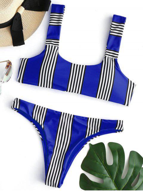 buy Striped Padded Bikini Set - COBALT BLUE S Mobile