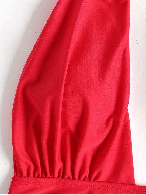 buy Low Cut High Waisted One Piece Swimsuit - RED M Mobile