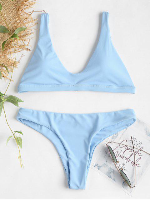 Gepolsterter Bralette Bikini Set - Meerblau L Mobile