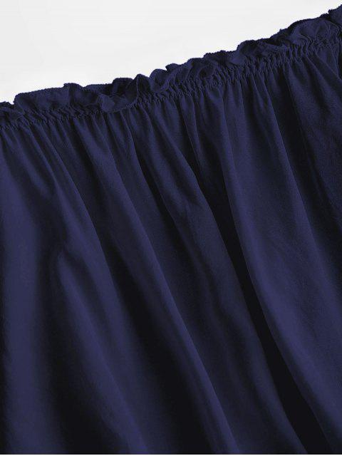 Volantes Hombro recortada de la blusa - Azul Profundo Talla única Mobile