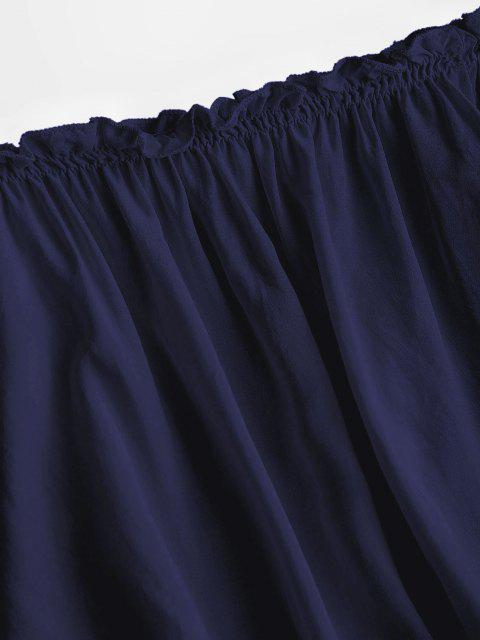 outfits Ruffles Off Shoulder Cropped Blouse - DEEP BLUE ONE SIZE Mobile