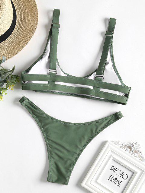 Caged Bralette Bikini Set - Dunkles Meergrün M Mobile