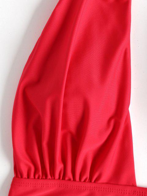 Maillot de Bain 1 Pièce à Coupe Basse à Taille Haute - Rouge L Mobile