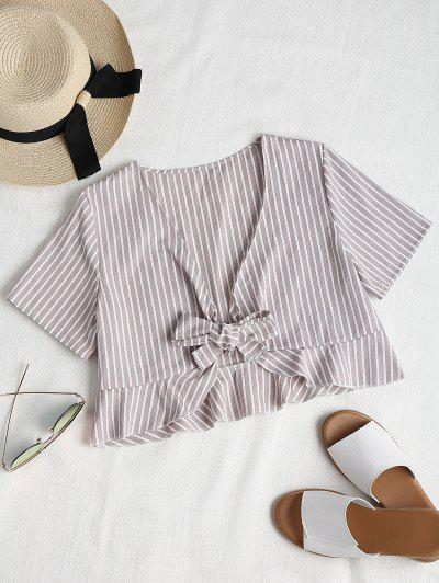 Ruffles Tie Front Cropped Top - Light Gray S