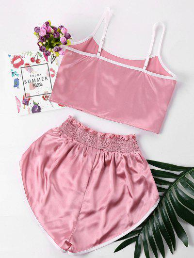 1568bd9e22 ... Contrast Trim Cami And Shorts Set - Pink S
