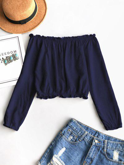 Ruffles Off Shoulder Cropped Blouse - Deep Blue
