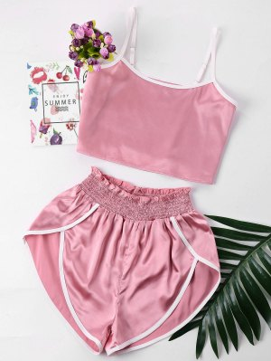 Contrast Trim Cami And Shorts Set - Pink S