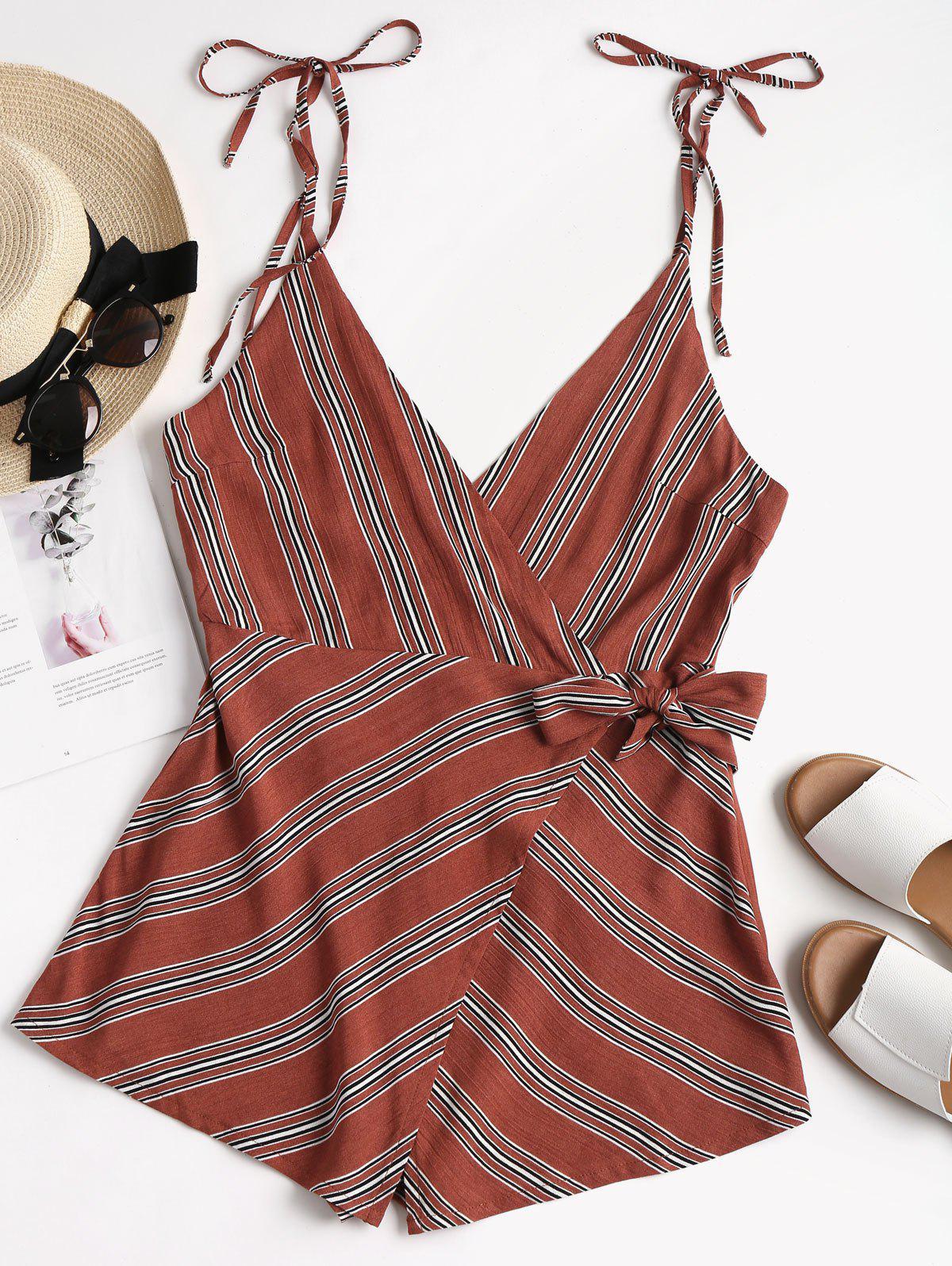 Backless Striped Overlap Romper 261456401