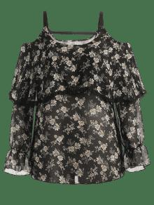 Negro Blusa Xl Florales Hombros Descubiertos Con nwI0f