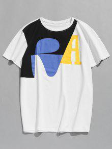 Estampada L Con Camiseta Corta Manga Blanco wZtpBR