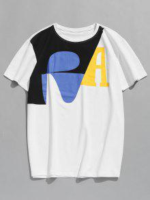 Corta Manga Estampada L Blanco Camiseta Con 0fwqSq
