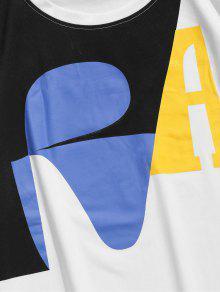 Estampada Corta Blanco Manga Con Camiseta L Fqxp4Ow