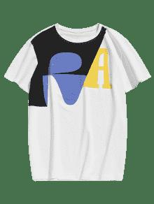 L Corta Blanco Con Camiseta Estampada Manga nW8E4Y