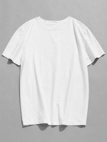 Estampada L Corta Manga Con Blanco Camiseta qv8wtt