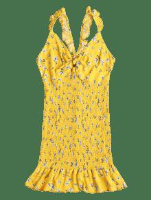 S Volantes Y Mini Con Anudado Volantes Vestido Amarillo wF0qCR