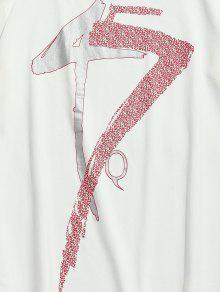 Casual Estampada Blanco Corta De Camiseta M Manga zdB5OdwUxq