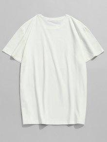 Manga Blanco Corta Estampada De Camiseta M Casual qTFzvzP