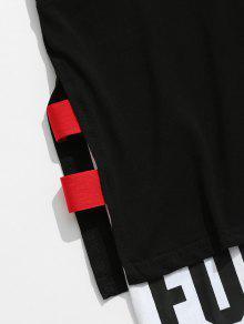 Sin Xl Top Negro Con 233;trico Mangas Hendidura Superpuesta Asim SanaPRd8