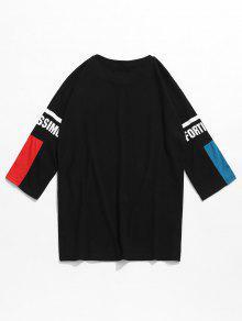Negro Media Manga Con Contraste Camiseta S En De Estampado qnB0Sf
