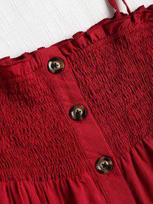 Smocked Vestido Cereza Mini S Button Up Rojo T4wBxgqTWr