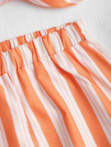 Cortos Con Anudada Conjunto Top Tira Oscuro S De Y Pantalones Naranja 0IEFFdxqw