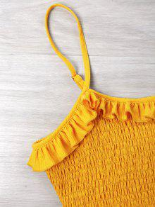 Con Shirred Vestido L Amarillo Cami Brillante Volantes Hpnz4