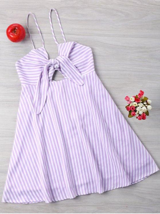 Vestido de verano de rayas de Bow Bust - Púrpura L