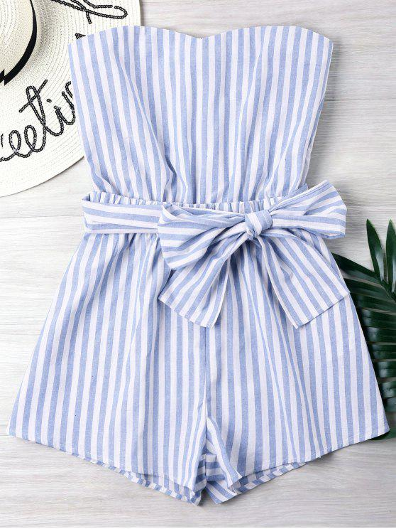 d538d777e 20% OFF  2019 Striped Tube Romper In LIGHT BLUE