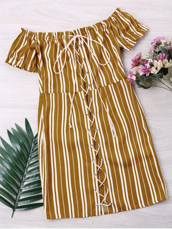 latest Striped Lace Up Dress - YELLOW M