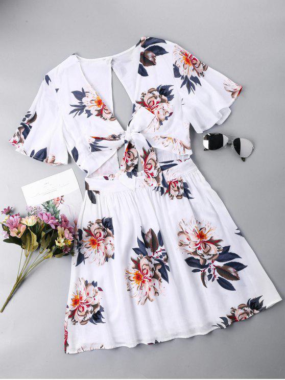 buy Open Back Tie Front Dress - WHITE L