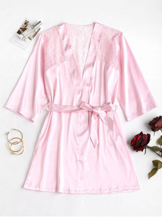 shop Lace Panel Satin Night Robe - LIGHT PINK ONE SIZE