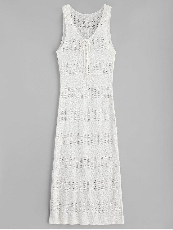 buy Side Slit Maxi Crochet Beach Dress - WARM WHITE ONE SIZE