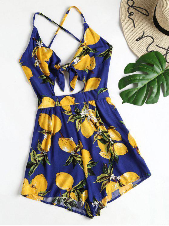 Lemon Print Strappy Tie Front Romper - Azul Marino S