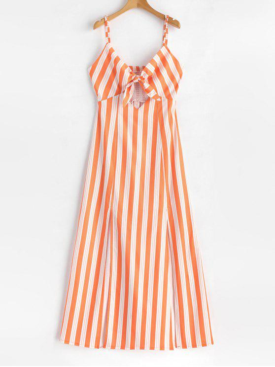 Robe Longue Smockée Rayée à Noeud - Orange Foncé M