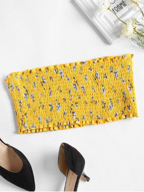 online Flower Smocked Tube Top - YELLOW L