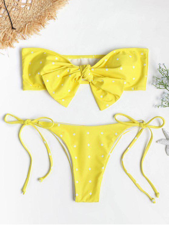 fashion Self-tie Knot Bandeau Bikini Set - YELLOW L