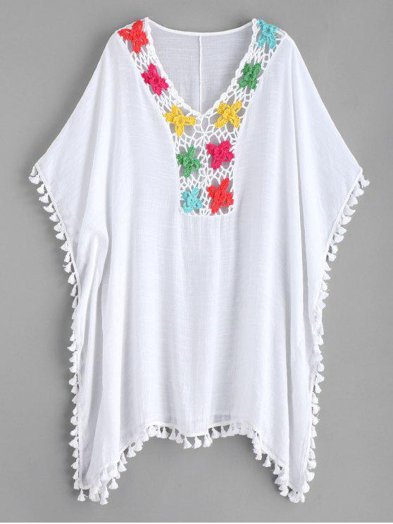 best Crochet Panel Tassels Kaftan Dress - WHITE ONE SIZE