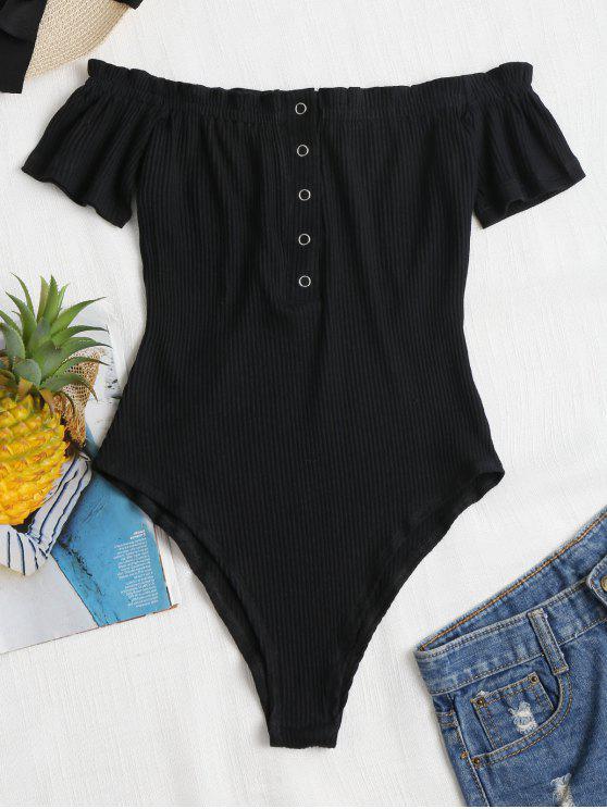 lady Snap Button Off Shoulder Bodysuit - BLACK XL