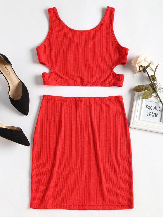 Conjunto superior y falda cortadas - Amo Rojo L