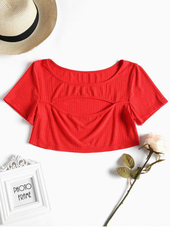 affordable Cut Out Crop Tee - LOVE RED L