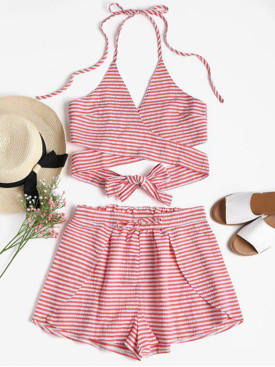 latest Seersucker Striped Wrap Top and Shorts Set - BEAN RED L