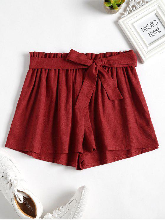 fashion High Waisted Wide Leg Shorts - CHESTNUT RED S