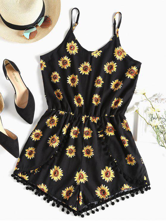 Pompom Sunflower Cami Cute Romper - Negro M