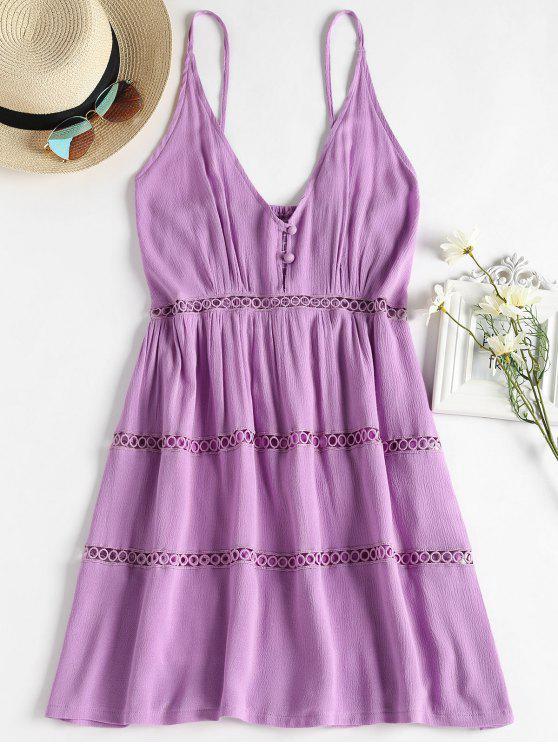 ladies Hollow Out A Line Cami Dress - MAUVE S