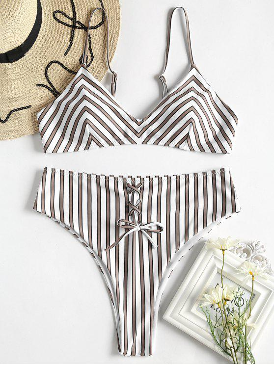 hot Striped Lace-Up High Waisted Bikini Set - MULTI L